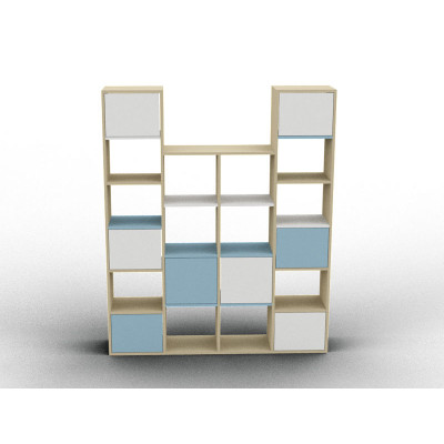 White and blue variable height furniture