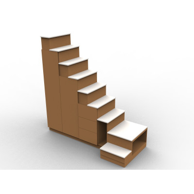 Meuble escalier quart tournant couleur bois