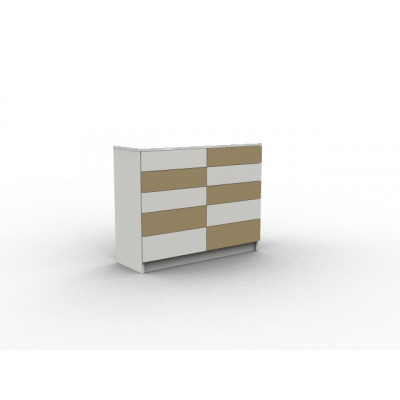 Commode blanche et bois avec tiroirs