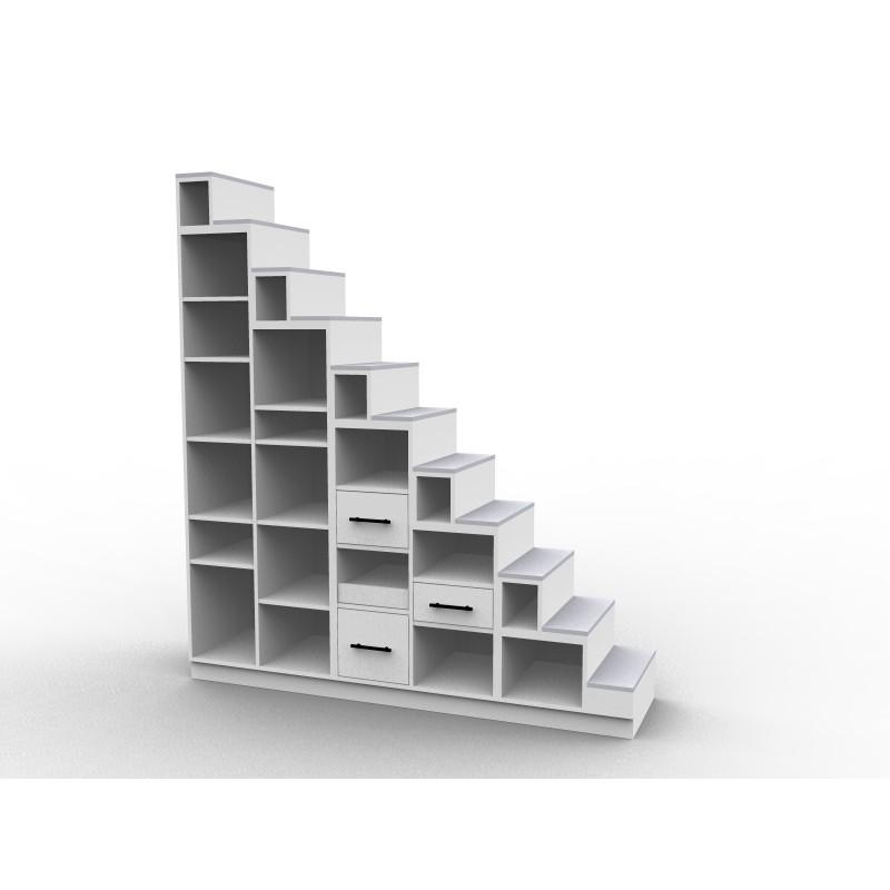 Meuble escalier bibliothèque mezzanine, modèle Longo