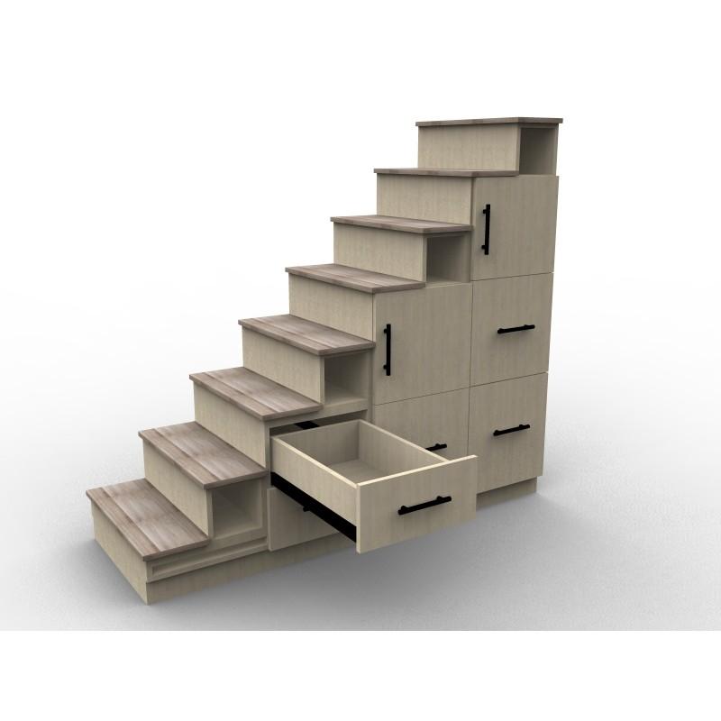 Meuble escalier avec effet bois, modèle Chêne Boisé