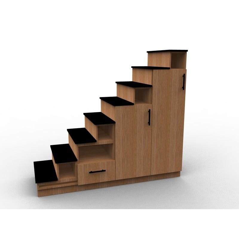 Meuble escalier en bois de chêne, modèle Rouvre