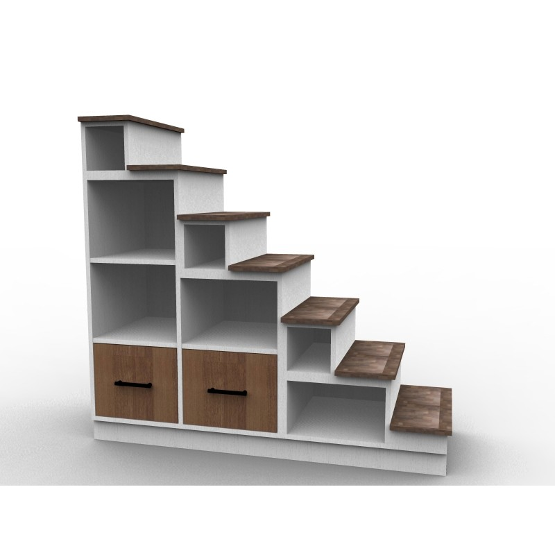 Storage staircase for mezzanine, wooden drawers