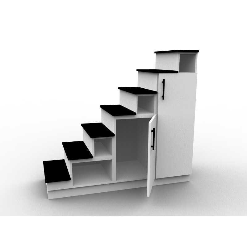 meuble escalier blanc et noir double espace de rangement mod le eteya aryga. Black Bedroom Furniture Sets. Home Design Ideas