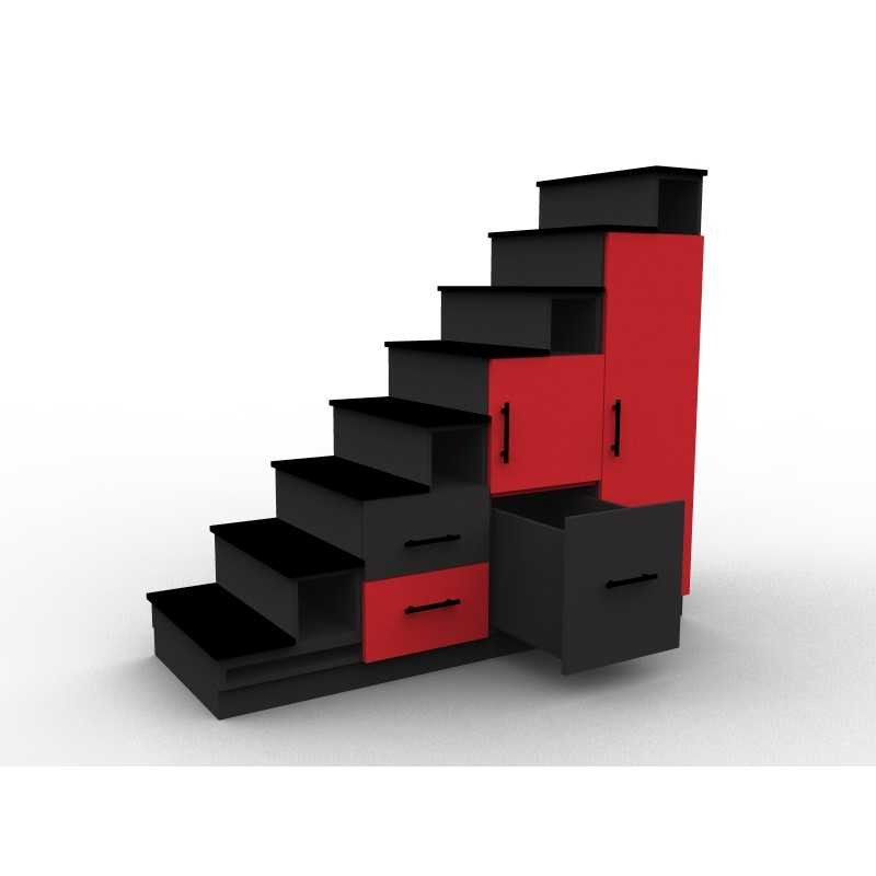 meuble escalier rouge et noir avec portes et tiroirs mod le stendal aryga. Black Bedroom Furniture Sets. Home Design Ideas